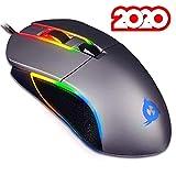 KLIM AIM Souris de Jeu Chroma RGB - USB Filaire - 500 à 7000 DPI Ajustables - Boutons Programmables - Confortable pour Toute Taille de Main - Ambidextre Excellent Grip Gamer Gaming PC PS4 - Gris