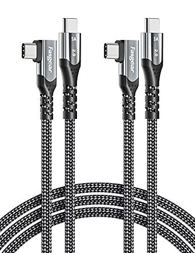 Fasgear 2 cables USB C a USB C de 1,8 m en ángulo recto de 90 grados, 100 W 5A PD de carga rápida tipo C compatible con Mac-Book Pro Air i-Pad Pro 2020 Galaxy S20 Huawei P40 Lenovo ThinkPad (2 negras)