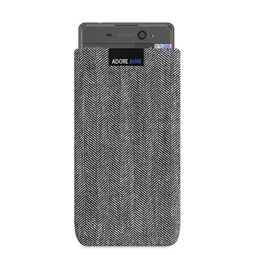 Adore June Business Tasche passend für Xperia XA1 / XA Ultra Handytasche aus charakteristischem Fischgrat Stoff - Grau/Schwarz | Schutztasche Zubehör mit Bildschirm Reinigungs-Effekt | Made in Europe