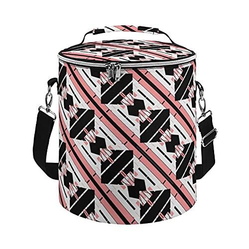 Bolsa enfriadora, rosa, negro, blanco, diseño de azulejos mediterráneos con aislamiento, bolsa grande para actividades al aire libre, senderismo, camping, barco, playa, pesca