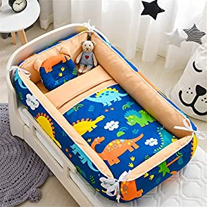 Abreeze Baby Bassinet for Bed,Baby Lounger Comforter,Baby Nest,Cotton Crib Breathable & Hypoallergenic Co-Sleeping Baby Bed,100% Cotton Portable Crib Pillow, Dinosaur
