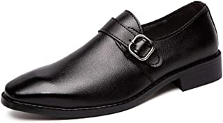 Xiang Ye Business Oxfords for Men Formal Dress Work Party Shoes Genuine Leather Buckle Closure Strong Antislip Outsole (Color : Black, Size : 6 UK)