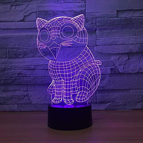 Lindo gato 3D Lámpara de ilusión LED Luz nocturna Mesa de noche óptica Luces nocturnas 16 Cambio de color Botón táctil Decoración Lámparas de escritorio,