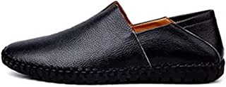 Shhdd Simple and classic drive loafers male fashion casual shoes, slip-on flat non-slip round toe was leather stitching lightweight and thin (Color : Black, Size : 47 EU)