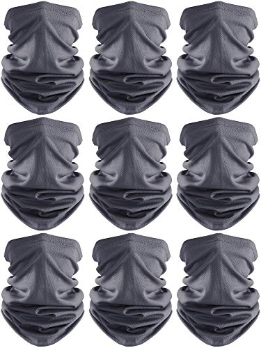 Face Cover Scarf UV Protection Neck Gaiter Scarf Sunscreen Breathable Bandana (Dark Grey, 9)