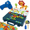 Flyingseeds Drill Toy Construction Engineering Building Blocks Puzzle Set with Creative Mosaic Screw Peg Board, STEM Educational Toys for Ages 5 6 7 8 9 10 Year Old Kids Boys Girls