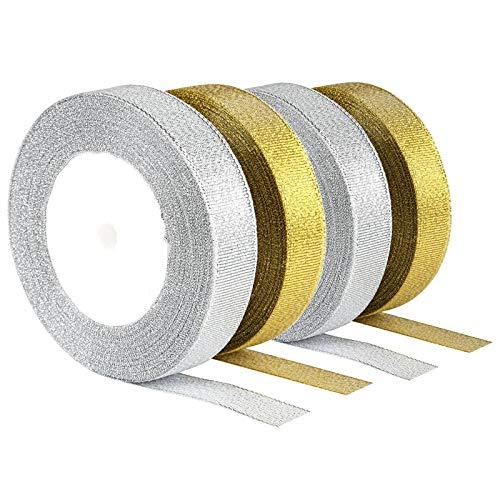 Nastro di raso con brillantini, oro e argento, per matrimonio, con brillantini, per Natale, 23 m × 4 rotoli