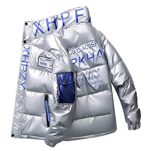 SUNY Mann/Frau Daunenjacke, Paar Outdoorjacke, Stehkragen Tolle Übergangs- & Winterjacke, 100% Wattierung Jacke Coat - Ideal Für Den Winter,Silber,XL
