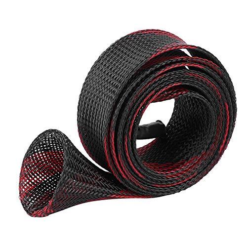 Broco gevlochten mouw uitbreidbaar gieten hengels pole cover beschermer (zwart rood)
