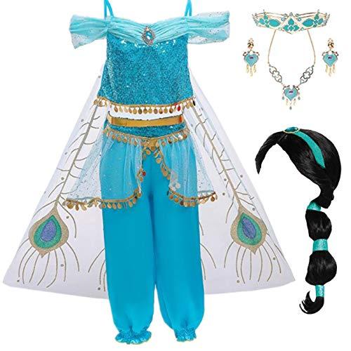 EMIN Aladdin Kostüm mit Perücke Haarschmuck Mädchen Jasmin Kleid Prinzessin Kostüm Bauchtanz Weihnachten Halloween Verkleidung Karneval Party Outfit Größe Rot