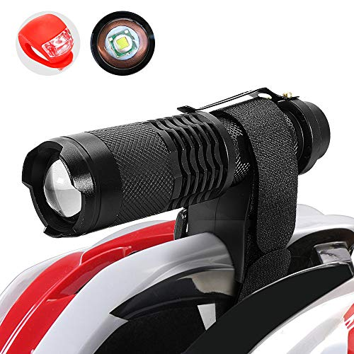 Maketheone Bike Bicycle Front Light Headlight-Taillight Combination Rechargeable Cycle Helmet Light Head Torch Kit Bright Flashlight+Rear Light+18650 Battery+Universal Charger+Helmet Mount+Bike Mount
