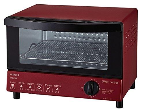 日立 オーブントースター 1,000W 角型パン2枚焼き HTO-CT30 R レッド