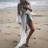 (Eine Größe) 2020 White Crochet Knitted Beach Pareo Kleid Lange Tunika Pareos Bikinis Cover Ups Bademantel zum Abdecken von Plage Beachwear