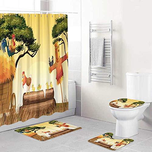 LONSANT Duschvorhang Set,Landwirtschaftliche Hühner & Vogelscheuche im Feld Tierküken,Rutschfesten Teppichen Toilettendeckel & Badematte Wasserdichter Duschvorhang für mit 12 Haken