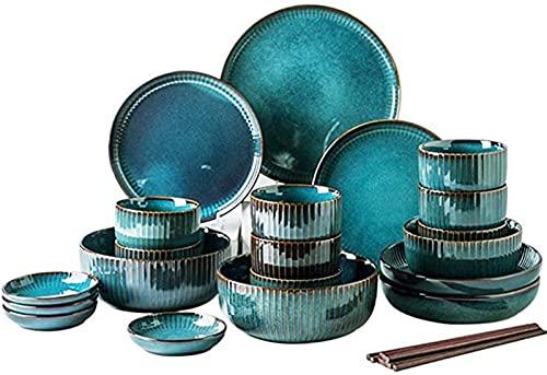 Juego de Platos, 28 unids -Nordic Style Starry Sky Series Sets Sets Placa y conjuntos de tazones, creatividad de cocina Conjuntos de platos de cerámica para 8, ensalada / tazón de sopa, hermoso regalo