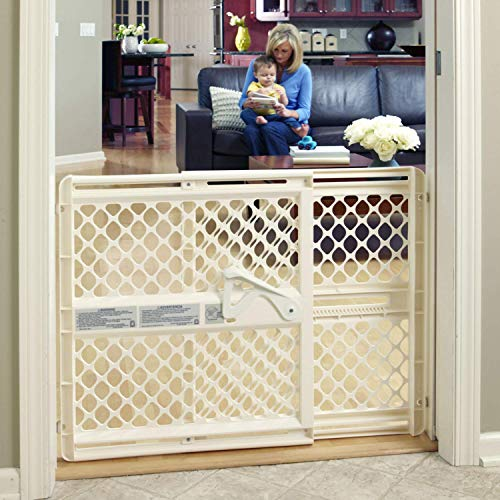 """Toddleroo by North States 42"""" Wide Supergate Ergo Baby Gate: Great for doorways or stairways. Includes Wall Cups for Extra Holding Power. Pressure or Hardware Mount. 26"""" - 42"""" Wide (26"""" Tall, Ivory)"""