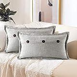 ETOLISHOP - Juego de 2 fundas de cojín decorativas de estilo de rústico y vintage, con tres botones, rectangulares, para sofá, coche o casa, de 30 x 50 cm