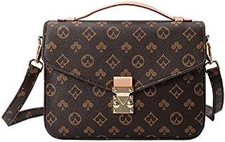 Luxury Messenger bag for Women Crossbody Handbag Shoulder Bag Tote Leather Purse Poker pattern Classic Clutch with Adjusta...