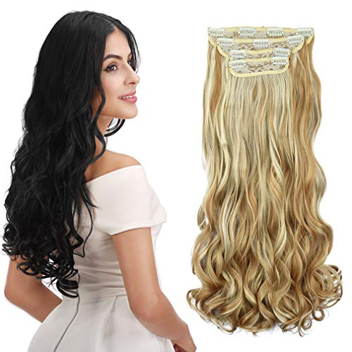 REECHO- Curly Wavy Clip in Hair Extensions 4 PCS Set Thick Hairpiece