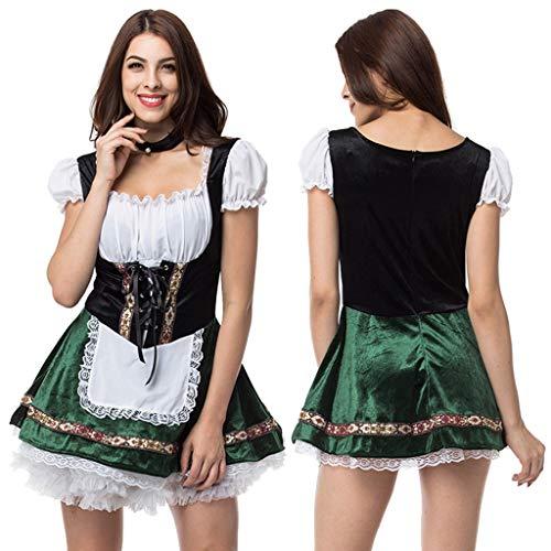 Grünes Minikleid Mit Hoher Taille, Traditioneller Oktoberfest Rock Mit Schwarzer Halskette (Grün, XXL)