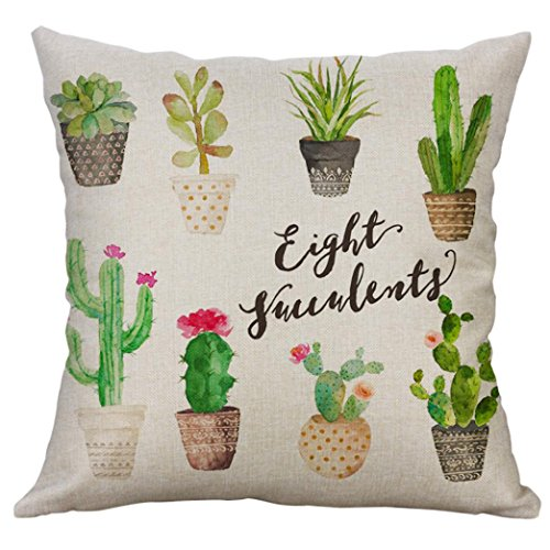 BakeLIN 45x45 cm Kissenbezug, Kaktus Topfpflanzen Drucken Quadrat Pillowcase Kissenhülle Taille Kissen Abdeckung Sofa Zuhause Dekor (45x45 cm, C)