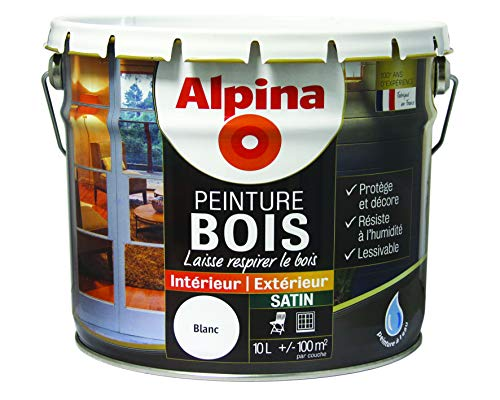 ALPINA Peinture Bois microporeuse - Satin Blanc 10L 100m²