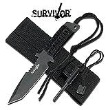 Couteau tanto survie survivaliste survivor + allume feu + etui scie chasse peche camping trek commando