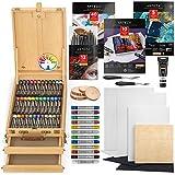 Arteza - Kit de pintura acrílica grande, con un juego de pinturas y rotuladores acrílicos, lienzos, bloc de papel para lienzos, paleta de papel, pinceles, discos de madera, apto para adultos y niños