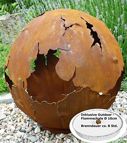 Riss Kugel 40cm Ø und Flammschale 16cm Ø Edelrost Rost Gartendeko Garten Feuerschale Metall Feuerkugel Pflanzschale