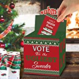 ORIENTAL CHERRY ChristmasPartySupplies - Ugly Sweater Contest Ballot Box and 50 Voting Cards - Fun Navidad Xmas Decorations for Office Holiday Party Friends Get Together