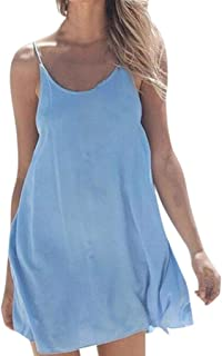 Sexy Dresses for Women,Women Solid Sleeveless O-Neck Casual Loose Beach Mini Dress