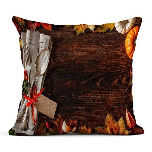 Dekokissen Dinner Thanksgiving Autumn Gedeck Besteck und Anordnung für Bunte Herbstblätter Tischwäsche Kissen Home Dekorative Kissen