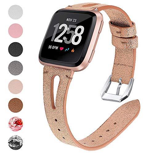 CaVN Armbanden, compatibel met Fitbit Versa / Versa Lite armband, leren band, vervangbandje, modieus, verstelbare vervangingsarmbanden met reservearmband, metalen verbinder, voor Versa & Versa Lite Edition, champagne