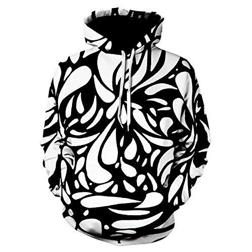 TougBoo Moda 3D para Hombres y Mujeres Sudaderas con Capucha, Coloridos remolinos a Rayas Sudaderas con Capucha mareadas Streetwear 2XL