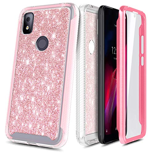 NZND Case for T-Mobile REVVL 4 with Built-in Screen Protector, Full-Body Protective Shockproof Rugged Bumper Cover, Impact Resist Durable Phone Case -Glitter Rose Gold