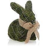 com-four® Coniglietto di Pasqua Decorativo per la Decorazione di Pasqua - Figura Decorativa per la Pasqua - Coniglietto Decorativo - Pelliccia in Aspetto Muschio (1 Pezzo Coniglietto 17 cm Verde)