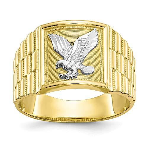 Herren-Ring aus 10 Karat Gelbgold, strukturiert, poliert und rhodiniert, Adler, Schmuck, Geschenke für Männer, höherer Goldgrad als 9 Karat Gold