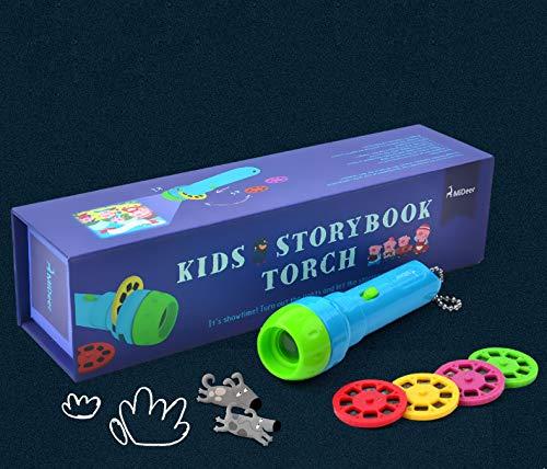 Lámpara de bolsillo proyector para niños, linterna, juguete proyector, con 4 cuentos y 32 imágenes de juguete educativo