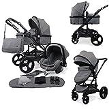 Pixini Kalani Kinderwagen 3 in 1 Komplettset inkl. Babywanne & Buggy & Auto-Babyschale + Wickeltasche/Regenplane/Getränkehalter/Mückennetz in grau melange