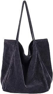 Ulisty Damen Groß Cord Tragetasche Retro Schultertasche Beiläufig Einkaufstasche Mode Handtasche grau