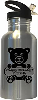 Happy Birthday Felisha Stainless Steel Water Bottle Straw Top