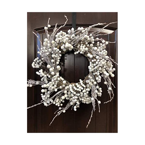 Winter and Christmas Front Door Wreath with White Berries on Grapevine Base-20-22″ Diameter