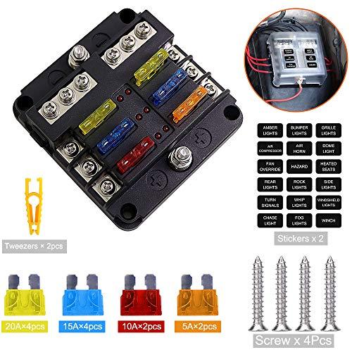 Sicherungskasten 6 flash, ATO/ATC Sicherungshalter, DC 12V-32V 100Amp Standard Sicherungsblock mit LED-Anzeige für Wohnmobil, Traktor, Boot und LKW zur Nachträglichen Montage