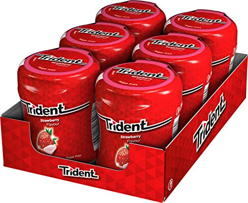 Trident Fresh Bottle Fresa- Chicles sin Azúcar con Sabor a Fresa - 6 Botes de 82,6 g