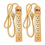 6 Outlet Heavy Duty Decorative Brown Power Strip, Multi Plug Surge Protector for Home Office, Walnut Look, 3 Ft, 2 Pack