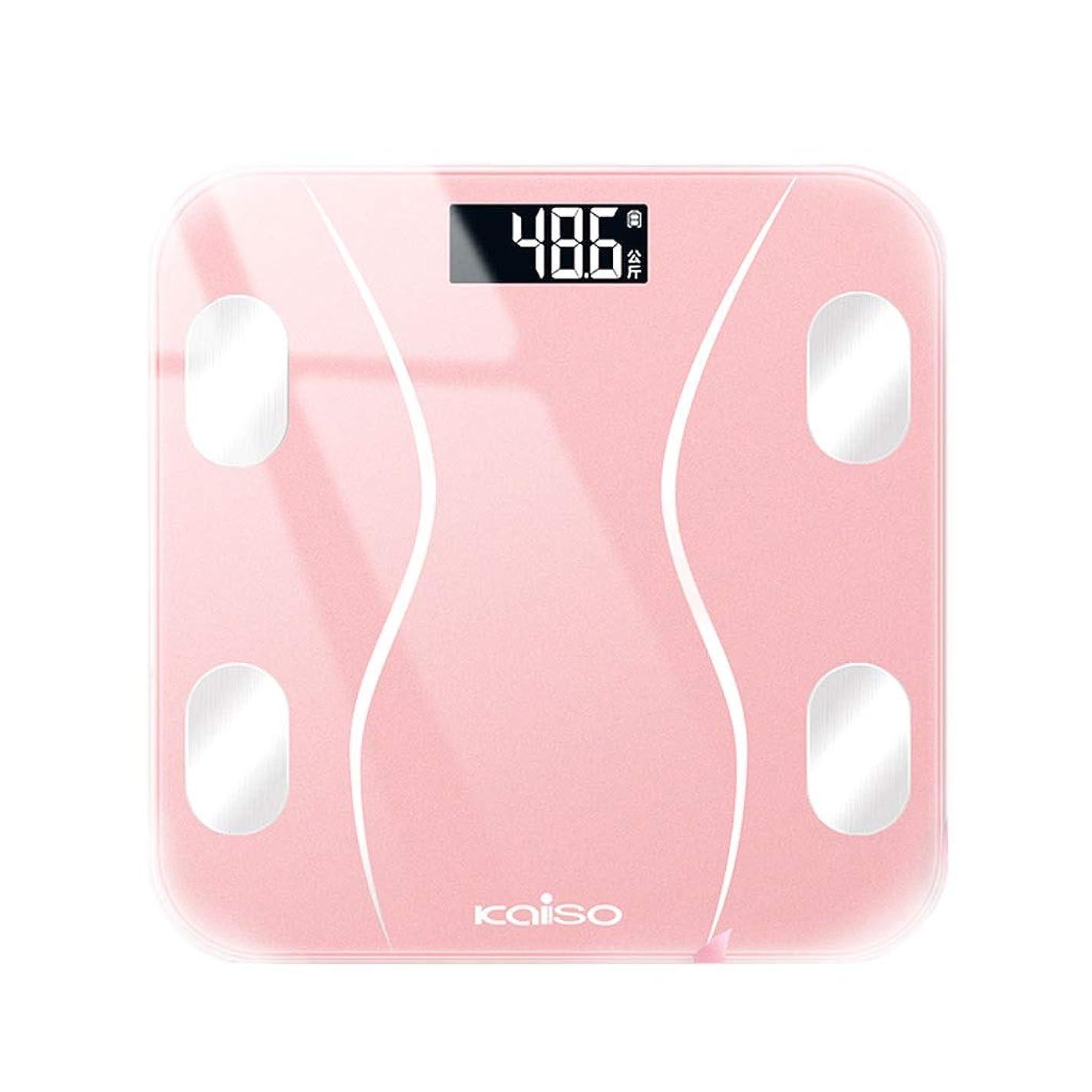 によって対処単位ピンクの体脂肪のスケール、正確で、健康な人体 - バランスのスケールの重量を量ること、家の寮のガラスのための小さい電子人間のスケール