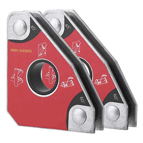 2 pezzi Supporto Magnetico Per Saldatura, Magneti Per Saldatura Multi-Angolo 30 ° 60 ° 45 ° 90 °, Dimensioni Compatte, Progettato Con Foro Centrale Per Una Facile Movimentazione