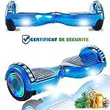 CHIC Hoverboard 6.5 Pouces Balance Board,Scooter électrique d'auto-équilibre,Skateboard Roues LED Light,Moteur 700W Haut-Parleur Bluetooth pour Enfants und Adultes (Noir)