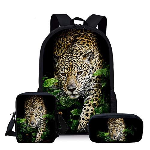 Nopersonality Jungen Rucksack Mode Leopard Schulrucksack Daypacks für Studenten Mädchen Schule Reiserucksack Grundschule Backpack 3 Teile Set