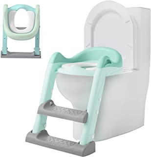 Potty Training Seat with Adjustable Ladder, Kid's Ladder Toilet Seat with Non-Slip Step Stool Ladder, Potty Training Ladder, Potty Chair, Green